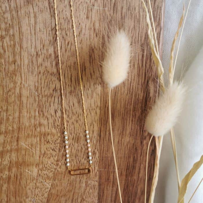 collier perle et ovale fin doré