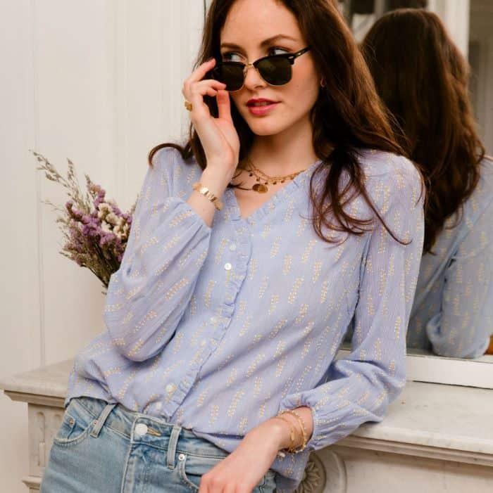 Chemise blouse parme