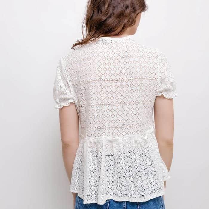 blouse blanche dentelle brodée