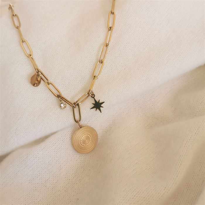 collier grand maillons et pampilles