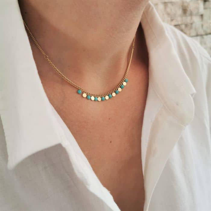 collier chaine doré pampille turquoise