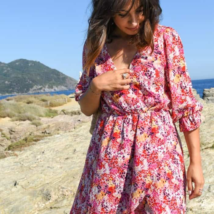 Robe Midi manches longues rose fleurs