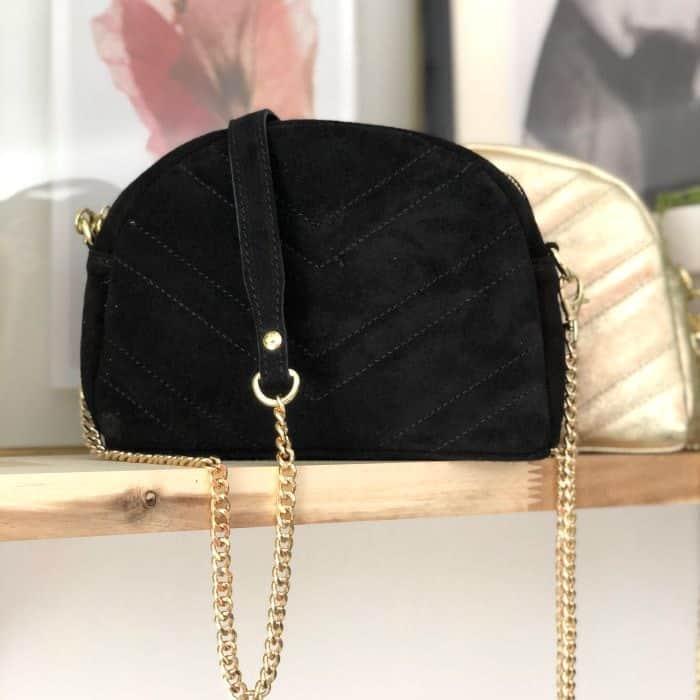 sac noir en cuir et bandouliere