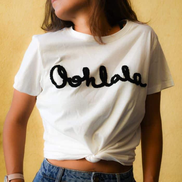 tshirt blanc ohlala noir message