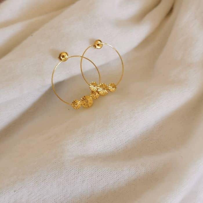 boucles d'oreille dorée pampilles
