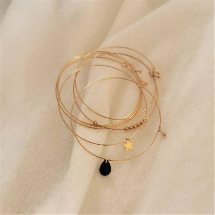 7 joncs doré semainier style alexiane bijoux