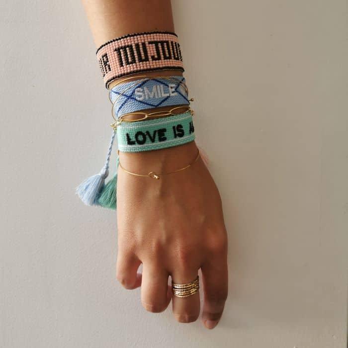 bracelet large tissé message