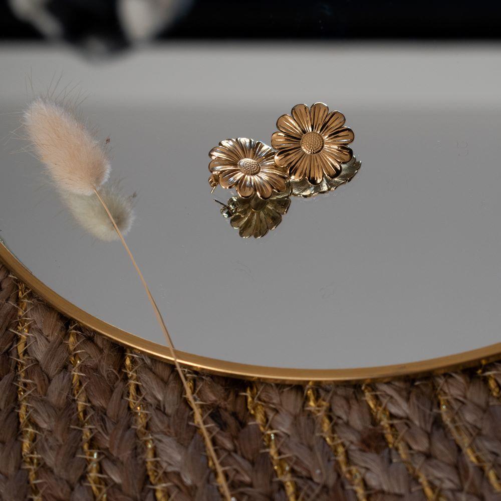 boucles puces en acier inoxydable doré en forme de fleur