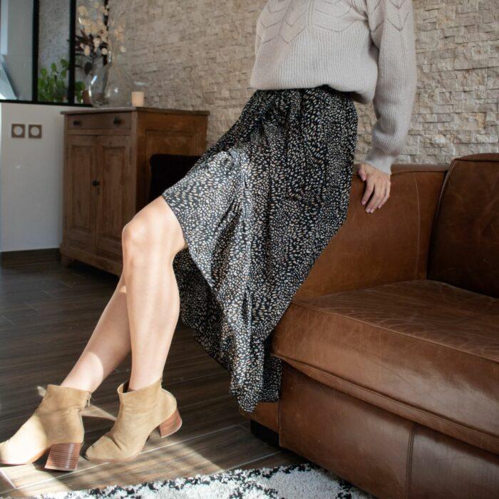 jupe longue asymétrique fluide à imprimé