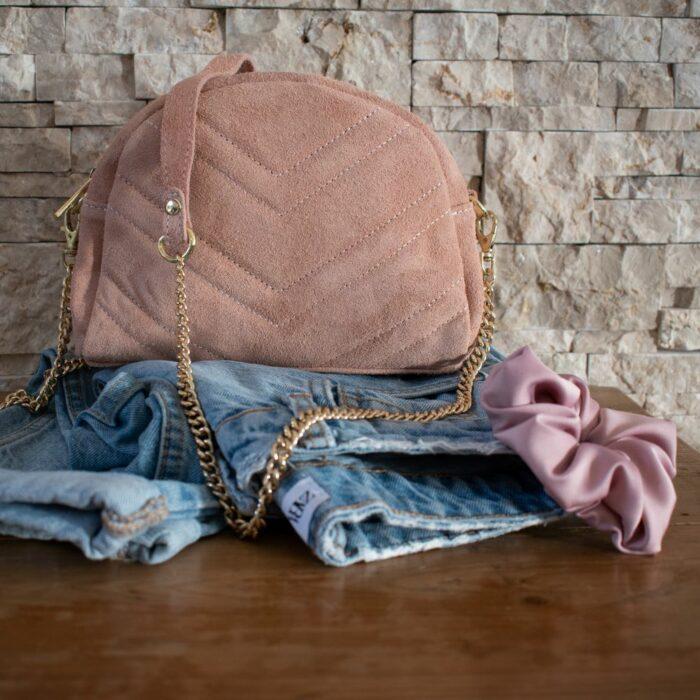 sac à maiun en cuir avec détail surpiqure vieux rose