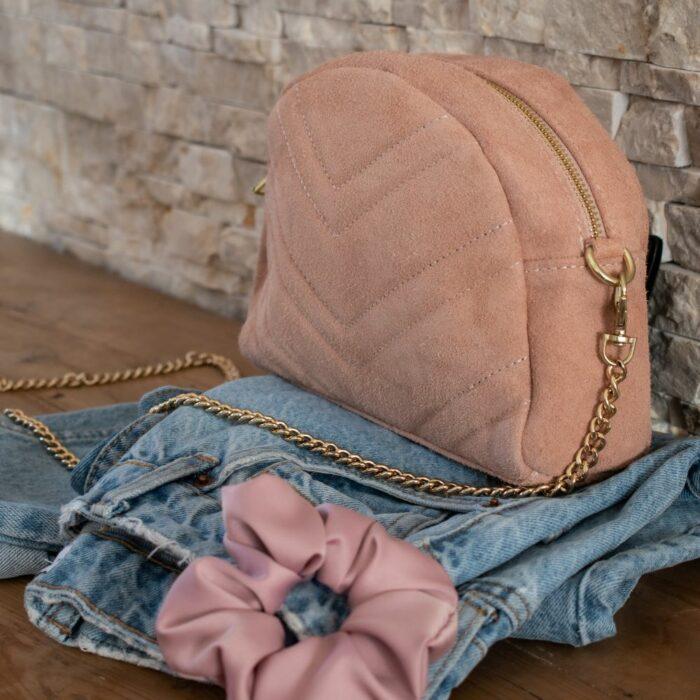 sac à maiun en cuir avec détail surpiqure rose poudré