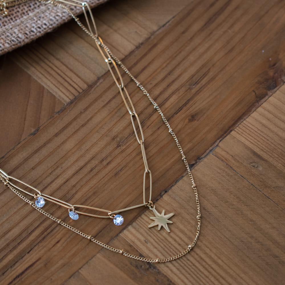 collier deux rangs doré avec pendentif étoile du nord