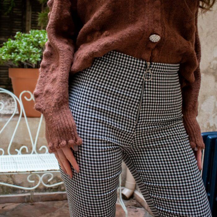 pantalon leggings imprimé pied de poule avec fermeture zip