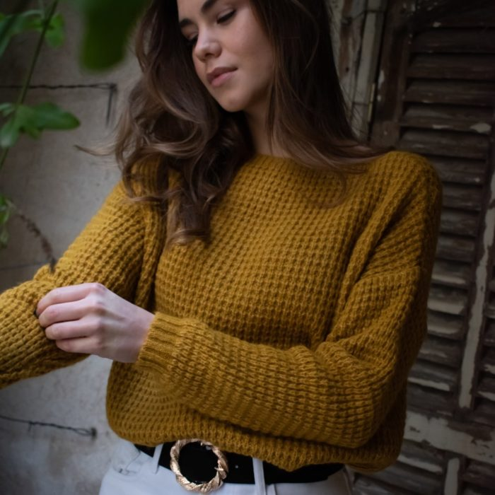 pull grosse maille douce effet nid d'abeille jaune moutarde