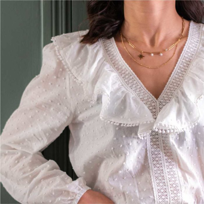 femme portant une blouse blanche à volants et plumetis