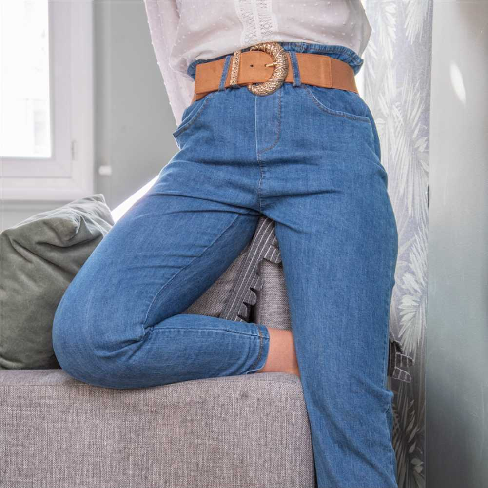 pantalon type paper bag bleu denim jeans