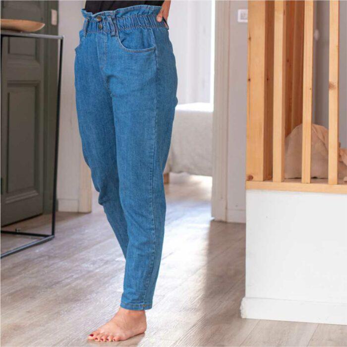 pantalon jeans denim type paper bag longueur cheville taille haute