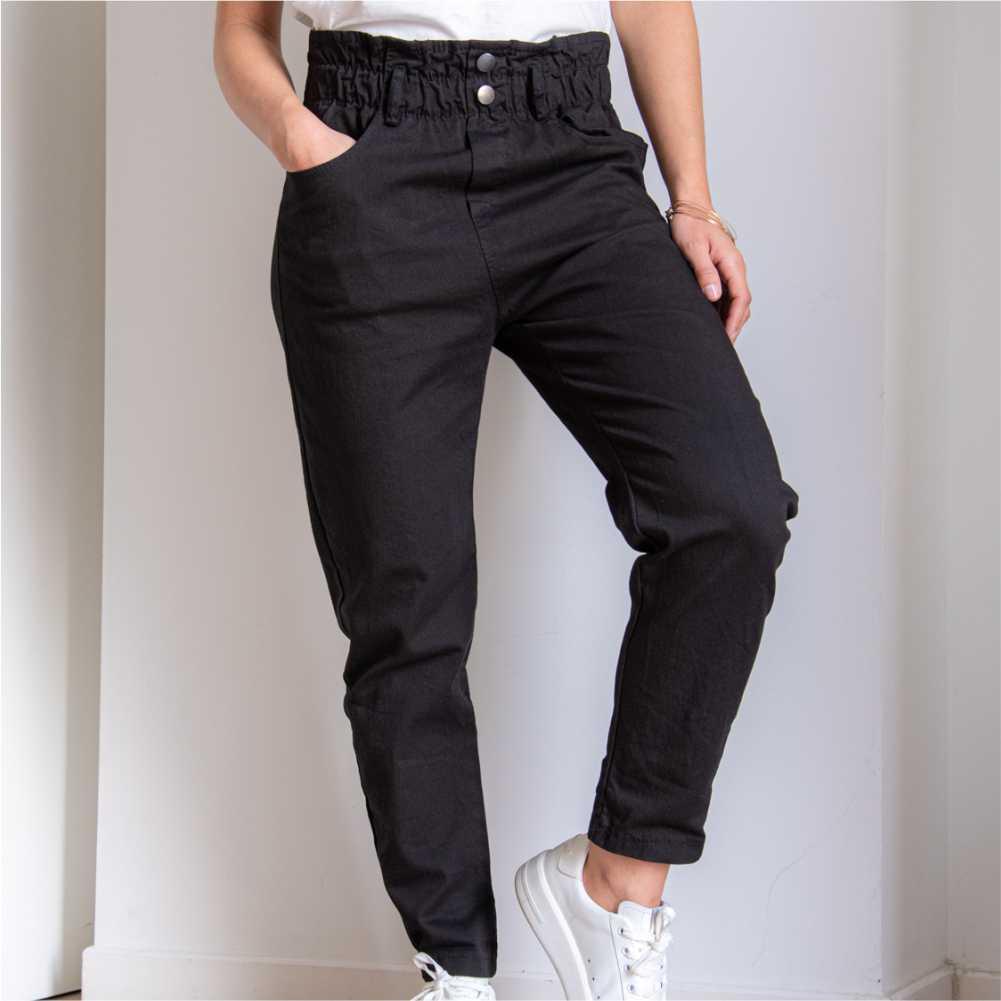 pantalon noir type paper bag longueur cheville taille haute