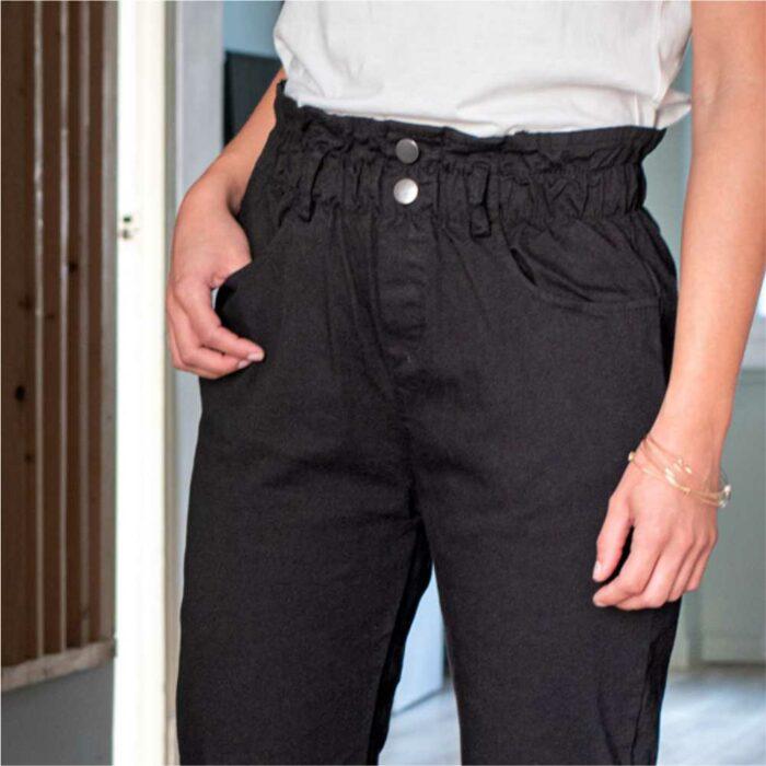 pantalon type paper bag noir taille haute