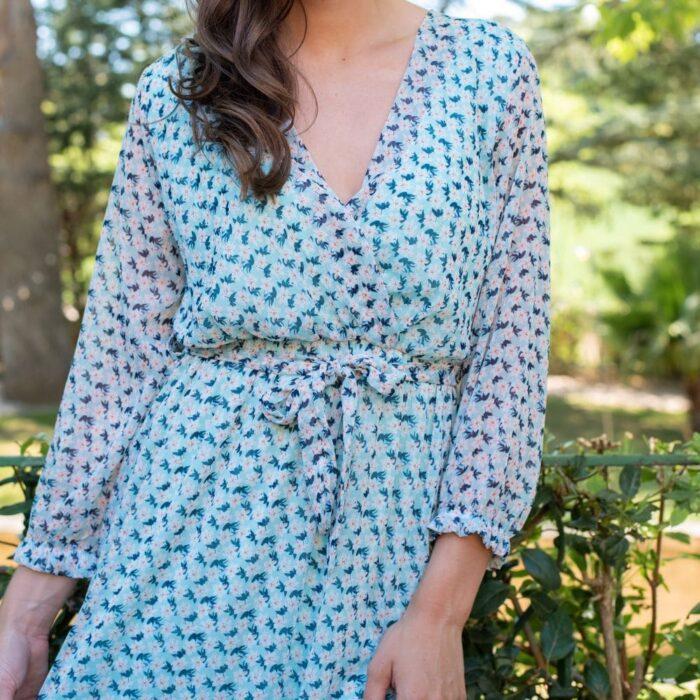 robe longue cache coeur bleue